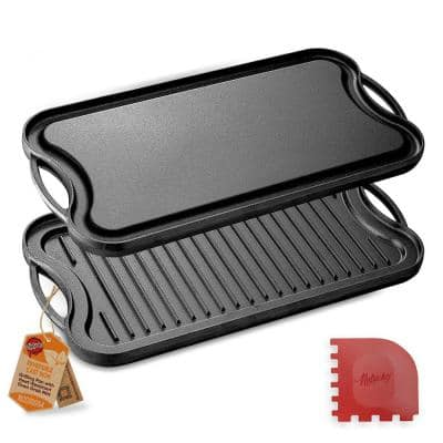 19.96 in. Kitchen Flat Grill Plate Pan Reversible Cast Iron Griddle Classic Flat Grill Pan Design with Scraper