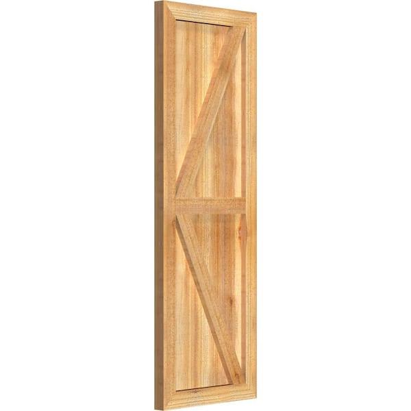 Ekena Millwork 16 1 8 X 47 Timbercraft Rustic Wood Three 5 3 8 Framed Board And Batten Shutters With Z Bar Rough Sawn Cedar Pair Rbf06z16x047rwr The Home Depot