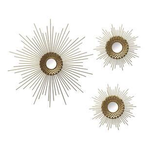 S/3 Gold Starburst Wall Mirrors