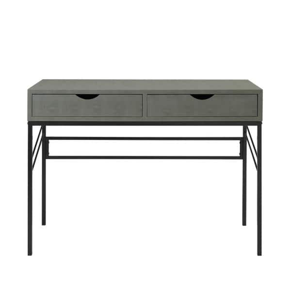 Welwick Designs 44 in. Rectangular Grey Faux Shagreen Wood and Metal 2-Drawer Writing Desk   The Home Depot