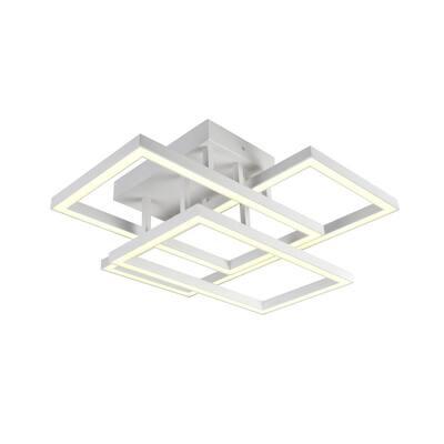 Radium 78-Watt 28 in. White Integrated LED Rectangular Semi-Flush Mount