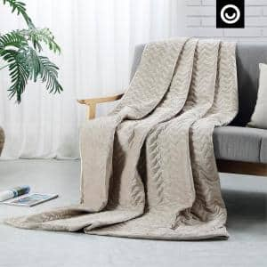 Fabumi Weighted Blanket 15 Pound 48''x72'', Taupe