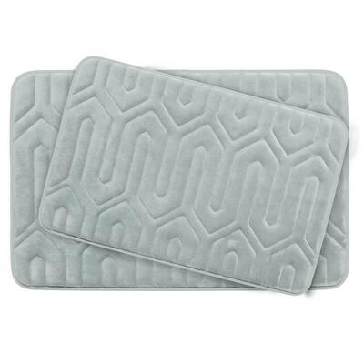 Thea Light Gray Memory Foam 2-Piece Bath Mat Set