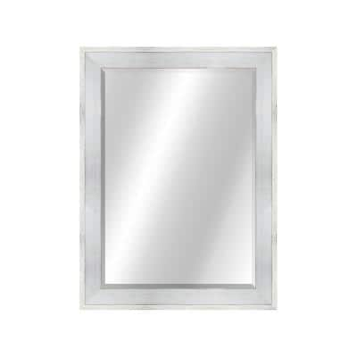 Country Colors 30 in. x 49 in., Rustic Natural Wood White / White Framed Rectangular Mirror