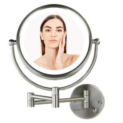 Hardwired 4.7 in. W x 12.4 in. H Framed Round Bathroom Vanity Mirror in Brushed