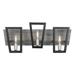 Zag 3-Light Black and Silverado Bath Light