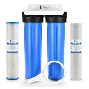 Well Water Whole House Filtration System 20'' Dual Stage Complete Commercial Grade Sediment Odor Taste Rust 1'' Ports