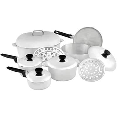 13–Piece Aluminum Cookware Set with Lids in Silver