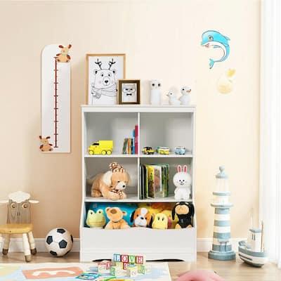 3-Tier White Children's Multi-Functional Durable Bookcase Toy Storage Bin Floor Cabinet
