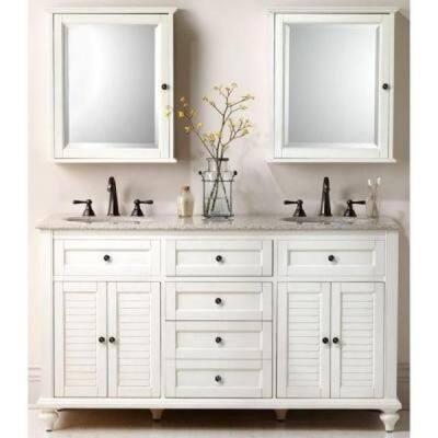 Hamilton 61 in. W x 22 in. D Double Bath Vanity in Ivory with Granite Vanity Top in Grey
