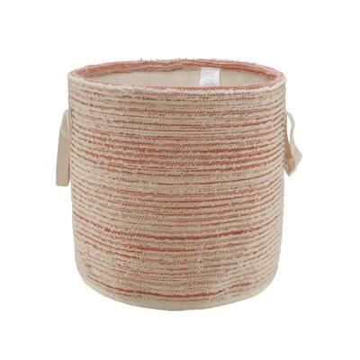 Textured Cotton Coral / White Distressed Decorative Storage Basket