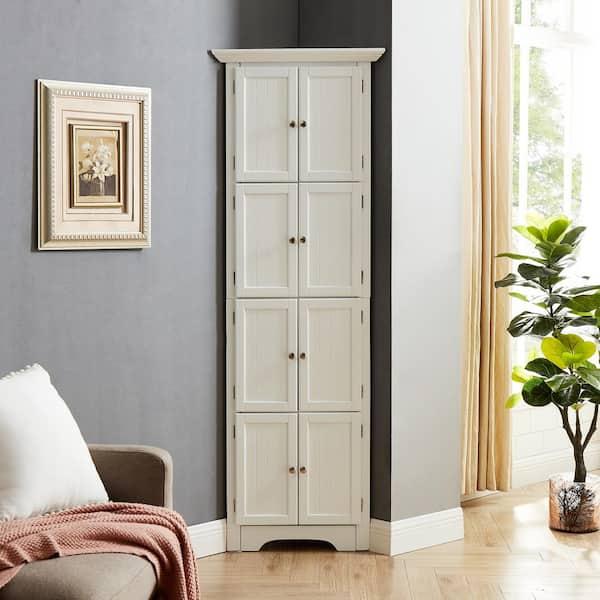 8 Door White Storage Corner Cabinet, Living Room Storage Cabinets