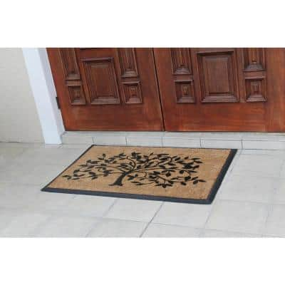 A1HC First Impression Life of Tree Black/Beige 30 in. x 48 in. Rubber and Coir Molded Brush Double Door Mat