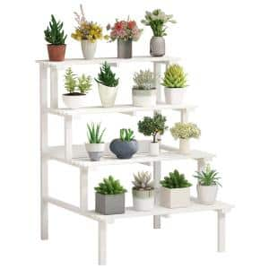 28 in. W x 23.4 in. D x 31 in. H White Wooden 4-Tier Plant Stand Combination Multi-Layer Flower Indoor Outdoor