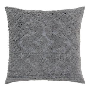 Ashton Collection in Medallion Design Gray Euro 100% Cotton Tufted Chenille Sham