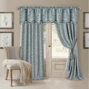 Blue Jacquard Blackout Curtain - 52 in. W x 95 in. L