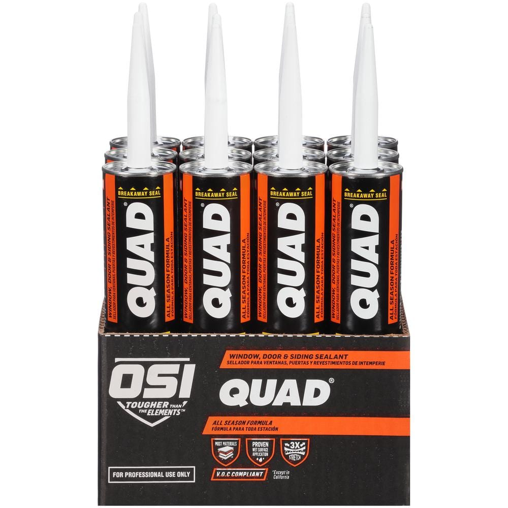OSI QUAD Advanced Formula 10 fl. oz. White #005 Exterior Window, Door, and Siding Sealant (12-Pack)
