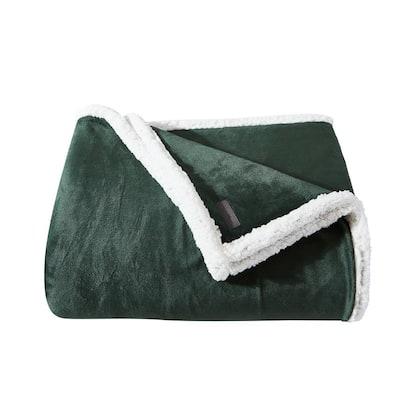 Solid Ultra Sherpa Plush 1-Piece Green Microfiber Twin Blanket