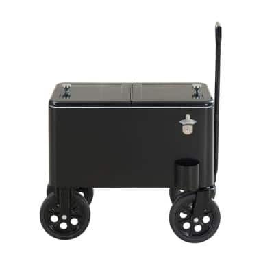 Audrey 60 Quart Black Chest Cooler Cart