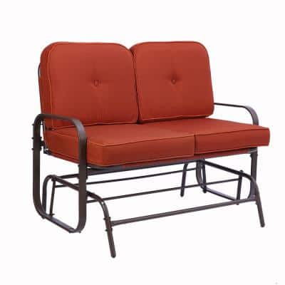 Metal Rocking Bench Outdoor Loveseat with Red Cushions