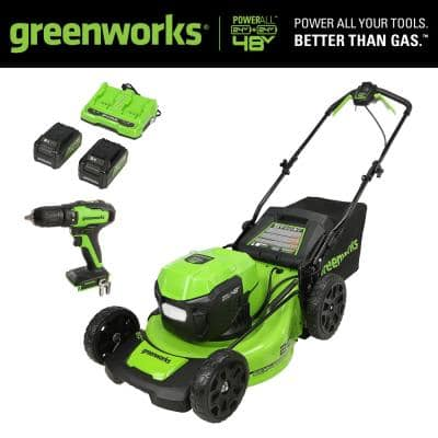 20 in. 48V (2 x 24V) Battery Cordless Self-Propelled Lawn Mower with (2) 5.0 Ah Battery Charger and 24V Drill