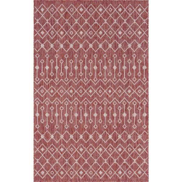 Unique Loom Rust Red Gray Tribal Trellis Outdoor 6 Ft X 9 Ft Area Rug 3145060 The Home Depot