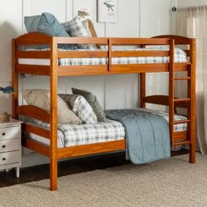 Solid Wood Twin over Twin Bunk Bed - Honey