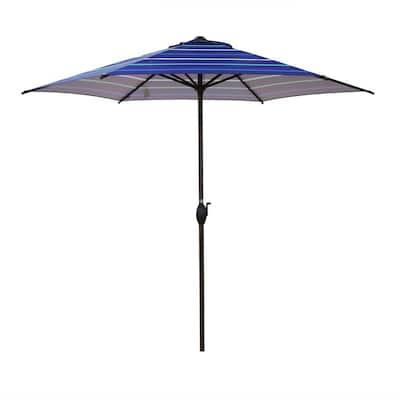 9 ft. Market Push Button Tilt Outdoor Patio Umbrella in Dark Blue Stripe with Crank