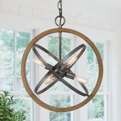 6-Light Farmhouse Industrial Globe Pendant Light Gray Modern Transitional Cottage Island Pendant with Faux Wood Accents