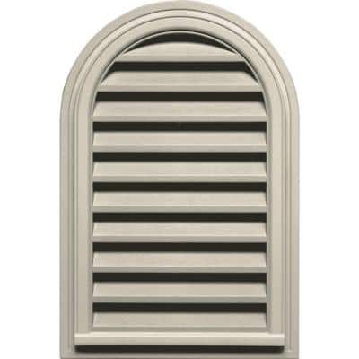 22 in. x 32 in. Round Top Plastic Built-in Screen Gable Louver Vent #089 Champagne