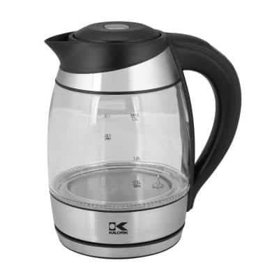 7.5-Cup Black Stainless Steel Cordless Electric Kettle with Keep Warm Setting