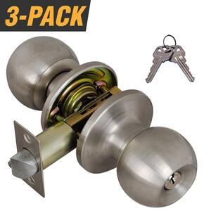 Stainless Steel Entry Door Knob with 6 KW1 Keys (3-Pack, Keyed Alike)