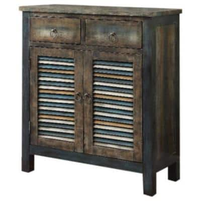 Amelia 32 in. Antique Oak/Teal Standard Rectangle Wood Console Table with Storage