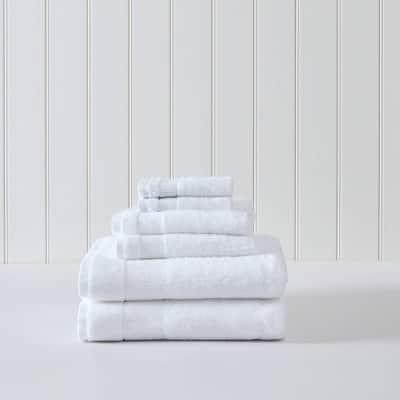 Island Retreat 6-Piece White Cotton Towel Set