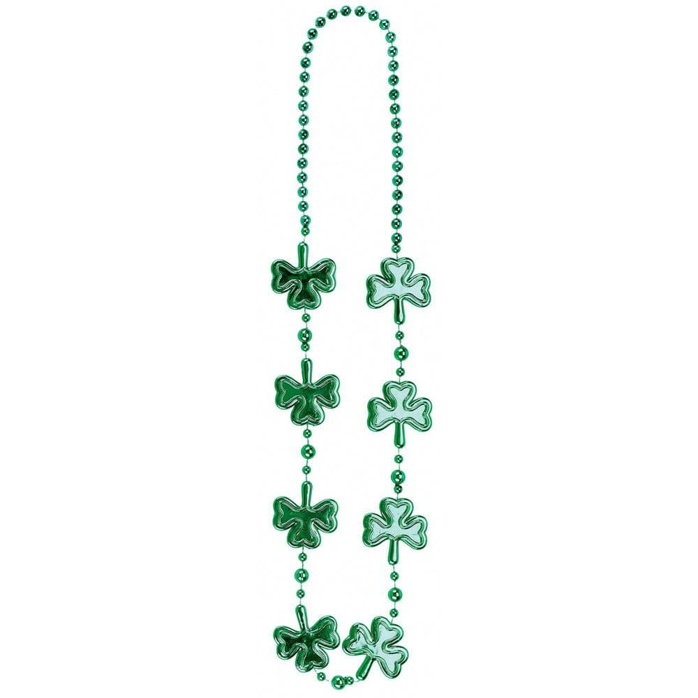 Amscan Green Shamrock St Patrick S Day Bead Necklaces 9 Pack 318742 The Home Depot
