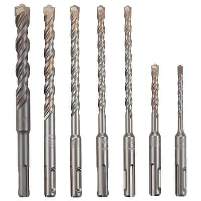 Carbide-Tipped Rotary SDS-Plus Hammer Bit Set (7-Piece)