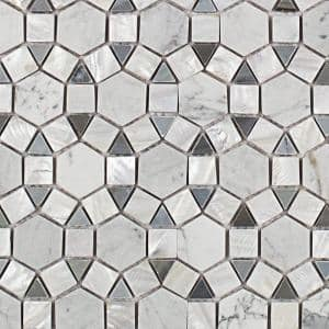 Noble Hexagon White Carrera and Moonstone 9-3/4 in. x 12-1/4 in. x 10 mm Polished Pearl and Marble Mosaic Tile