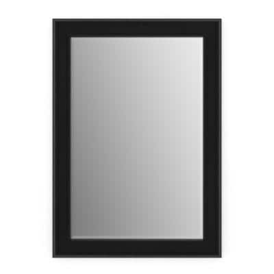 29 in. W x 41 in. H (M3) Framed Rectangular Deluxe Glass Bathroom Vanity Mirror in Matte Black