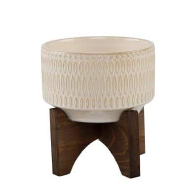 4 in. Ivory White Palsley Ceramic Pot on Wood Stand