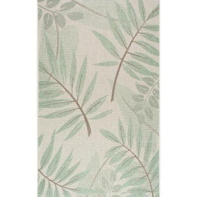 Trudy Art Deco Leaves Turquoise 8 ft. x 11 ft. Indoor/Outdoor Area Rug