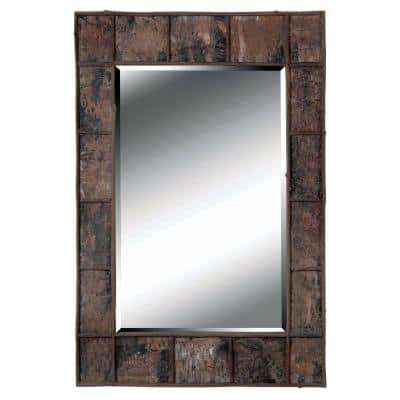 Medium Rectangle Natural Bark Beveled Glass Casual Mirror (38 in. H x 28 in. W)