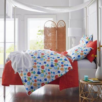 Company Cotton Mini Leaf Apple Red Floral King Percale Quilt