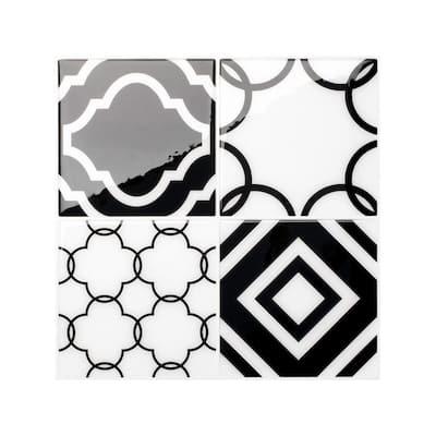 Vintage Bilbao Black / White 9 in. x 9 in. Vinyl Peel and Stick Tile (2.20 sq. ft./ 4-pack)