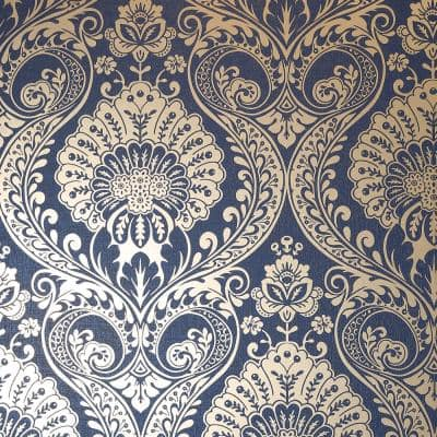 Luxe Damask navy Vinyl Strippable Roll (Covers 56 sq. ft.)