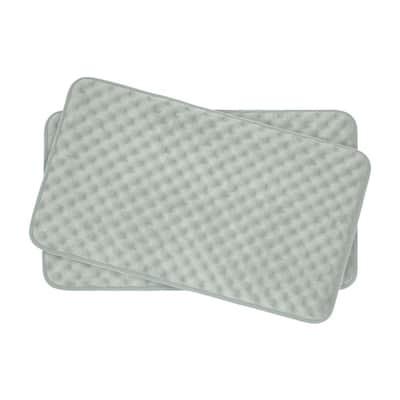 Massage Light Gray 17 in. x 24 in. Memory Foam 2-Piece Bath Mat Set