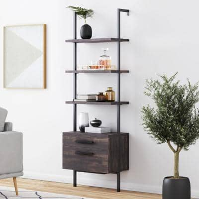 Theo Warm Nutmeg Wood and Black Steel Frame Bookcase or Bookshelf with 2 Drawers