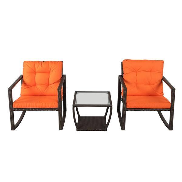 3 PCS Wicker Patio Rocking Chair Armchair Outdoor Porch Deck All Weather Gliding Rocker Orange