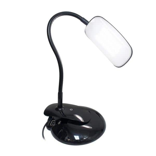 Simple Designs 21 5 In Rounded Black Flexi Led Clip Light Desk Lamp Ld2021 Blk The Home Depot