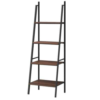 63 in. Brown Wood Ladder 4-Tier Shelves Metal Frame Bookcase with Storage