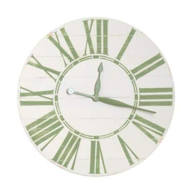 Oversized Antique White and Sage Farmhouse Wall Clock
